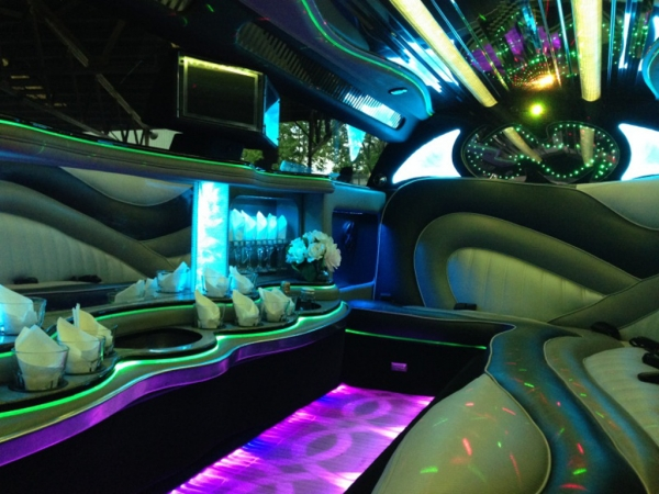 Melbourne Limousine hire interior with Neon Lights